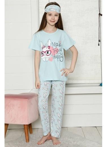 Akbeniz Çocuk Pamuk Kısa Kollu Pijama Takımı 4561 Mavi